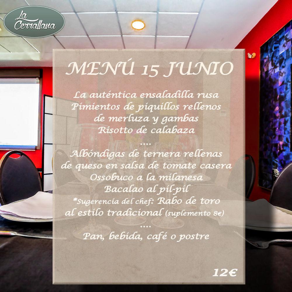 menú del día restaurante la cerrallana 15 de junio